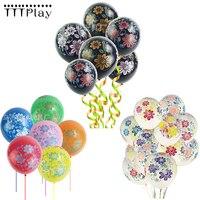 10 unids/lote 12 pulgadas negro flores globos de látex inflable de aire de flores bolas Feliz cumpleaños materiales de decoración para boda
