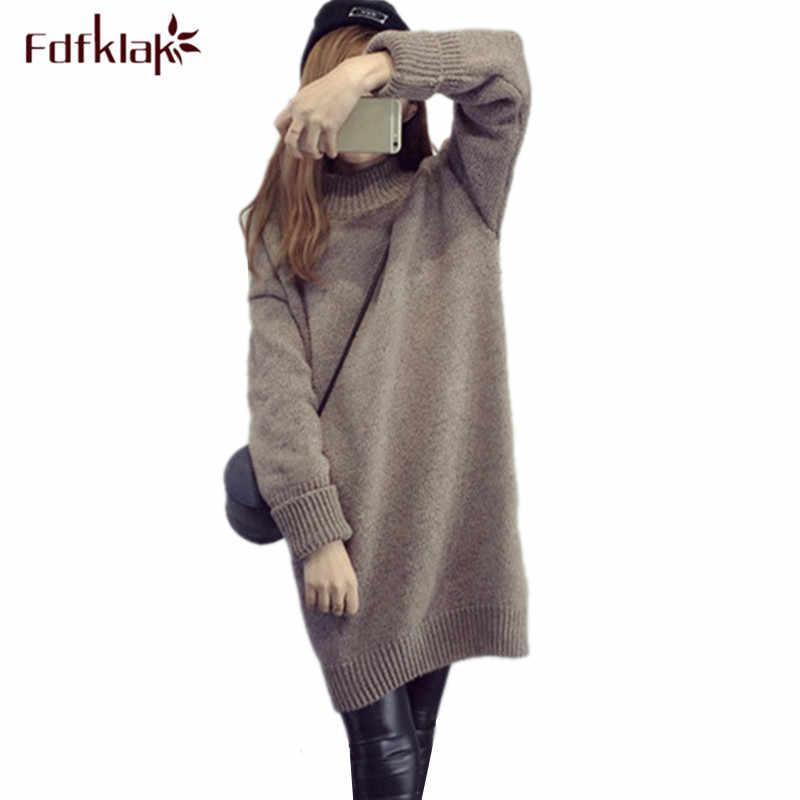 Fdfklak, ropa de maternidad de invierno, suéter largo de punto de cuello alto para mujeres embarazadas, ropa de maternidad, suéteres de embarazo