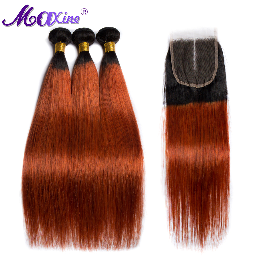 Maxine Hair Ombre Straight Hair Bundles With Closure 1B 350 Golden Blond 10 26 Inch 3