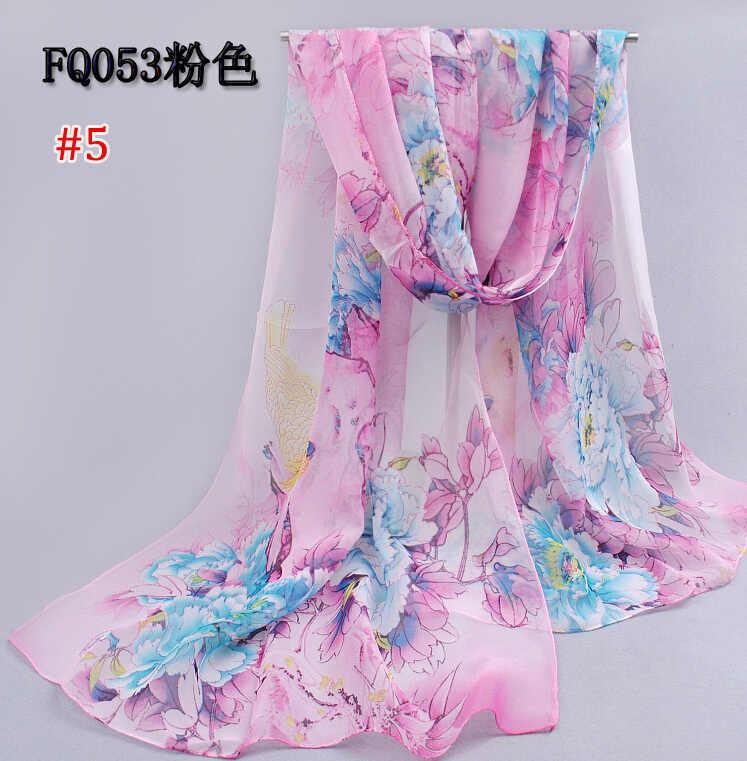 Signore libere di trasporto printe grande fiore sciarpa/scialli di chiffon di seta eccellente bello della ragazza lunga spiaggia testa hijab musulmano sciarpe FQ053