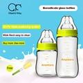 240ml 150ml glass baby milk bottle wide mouth anti flatulence fall proof bottle silicone nipple newborn baby supplies