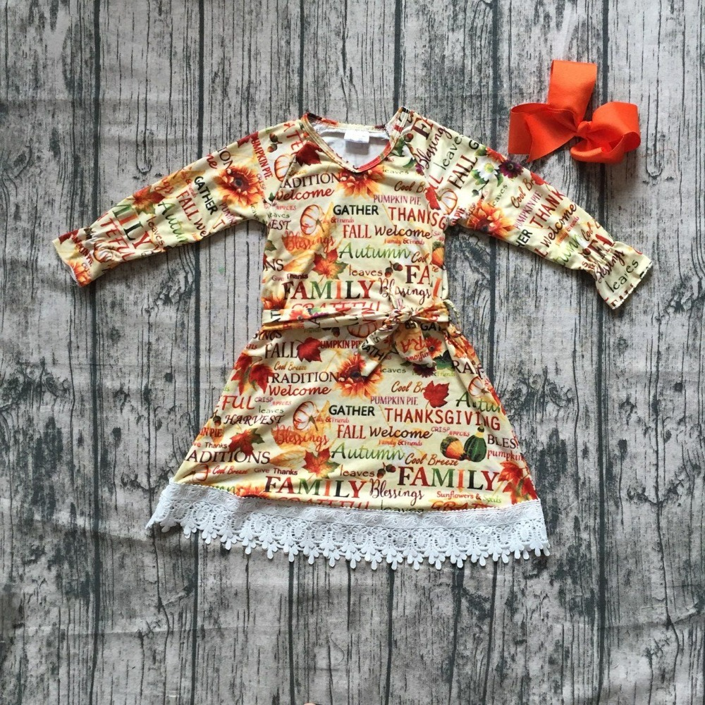 thanksgiving Fall/winter dress girls thankgiving pumpkin dress long sleeve milksilk dress white lace ruffle with matching bows frill trim ruffle sleeve surplice wrap dress