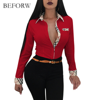 BEFORW 2018 Women S Elegant Long Sleeve Casual Multicolor Shirt Lining Unique Design Lapel Collar Lady