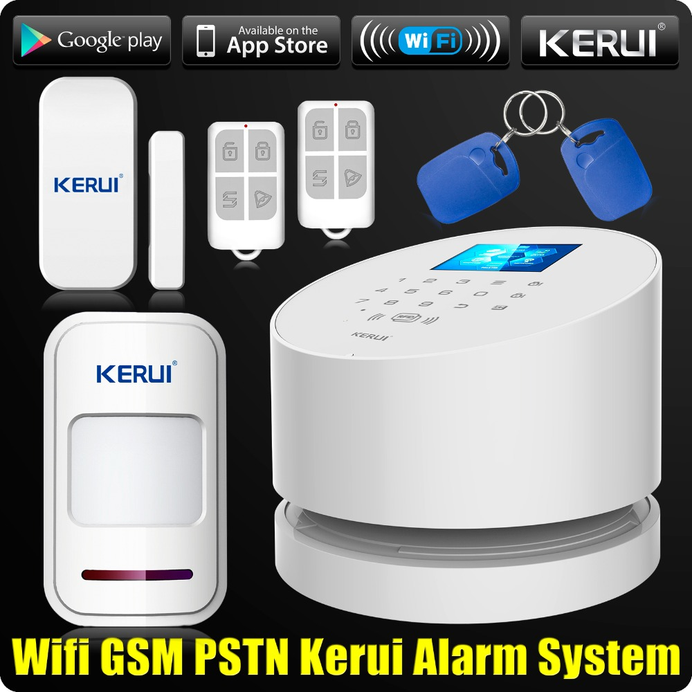 Wholesales KERUI W2 Wifi GSM PSTN Telephone Landline Home Alarm APP ISO 433MHz TFT Golor Screen RFID Disarm Arm Security Kit