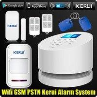 Commerci all'ingrosso KERUI W2 Wifi GSM PSTN Telefono Fisso Allarme Domestico APP ISO 433 MHz TFT Schermo Golor RFID Disarmare Braccio di Sicurezza Kit