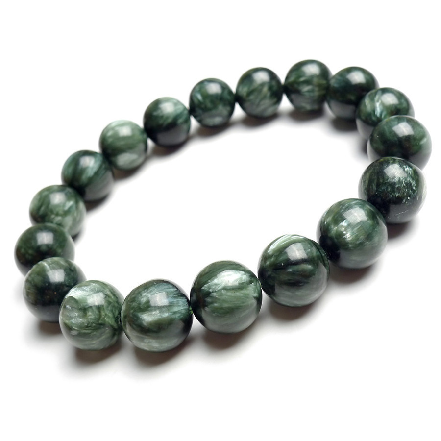 Genuine Green Seraphinite Natural Stone Crystal Round Beads Women Mens Stretch Bracelets 12mm natural green phantom crystal 10mm semi everlast crystal beads diy bracelets 40 cm string