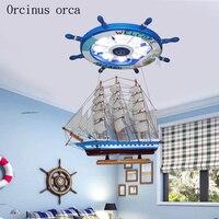 Создание мультфильм Средиземное лодка руль люстра детская комната мальчик спальня свет современный светодиодный защита глаз потолочный с