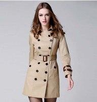 Dames Jassen Vrouwen 2017 London Fashion Designer Brand Classic Europese Trenchcoat Kaki/Zwart Plus Size Double-Breasted Jas