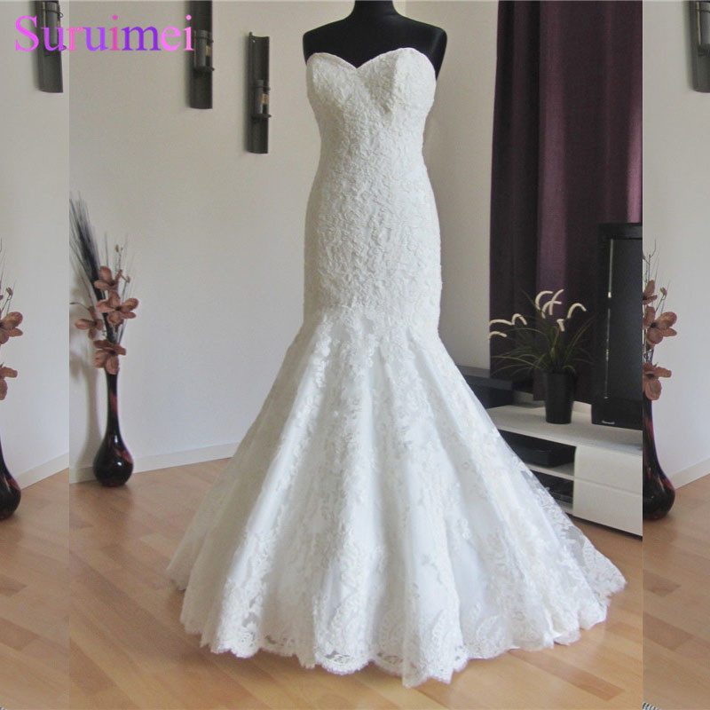 New Arrival Mermaid Lace Bodice Open Back Long Wedding Dress Bridal Gown Women Free Shipping HS207