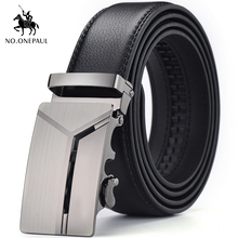 NO.ONEPAUL Men automatic buckle metal silver belt high quality trend, business and leisure dual-use, handmade men