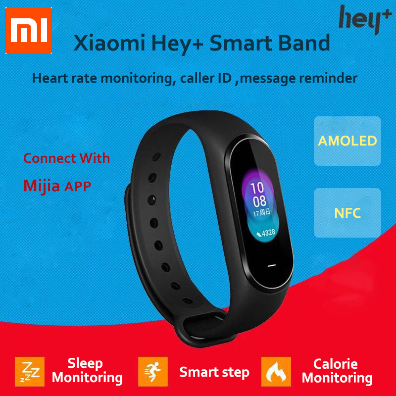 In-Stock Xiaomi Hey Plus Smartband 0.95 Inch AMOLED Color Screen Builtin Multifunction NFC Heart Rate Monitor Hey+ Band ремень hey decorated sinks s08