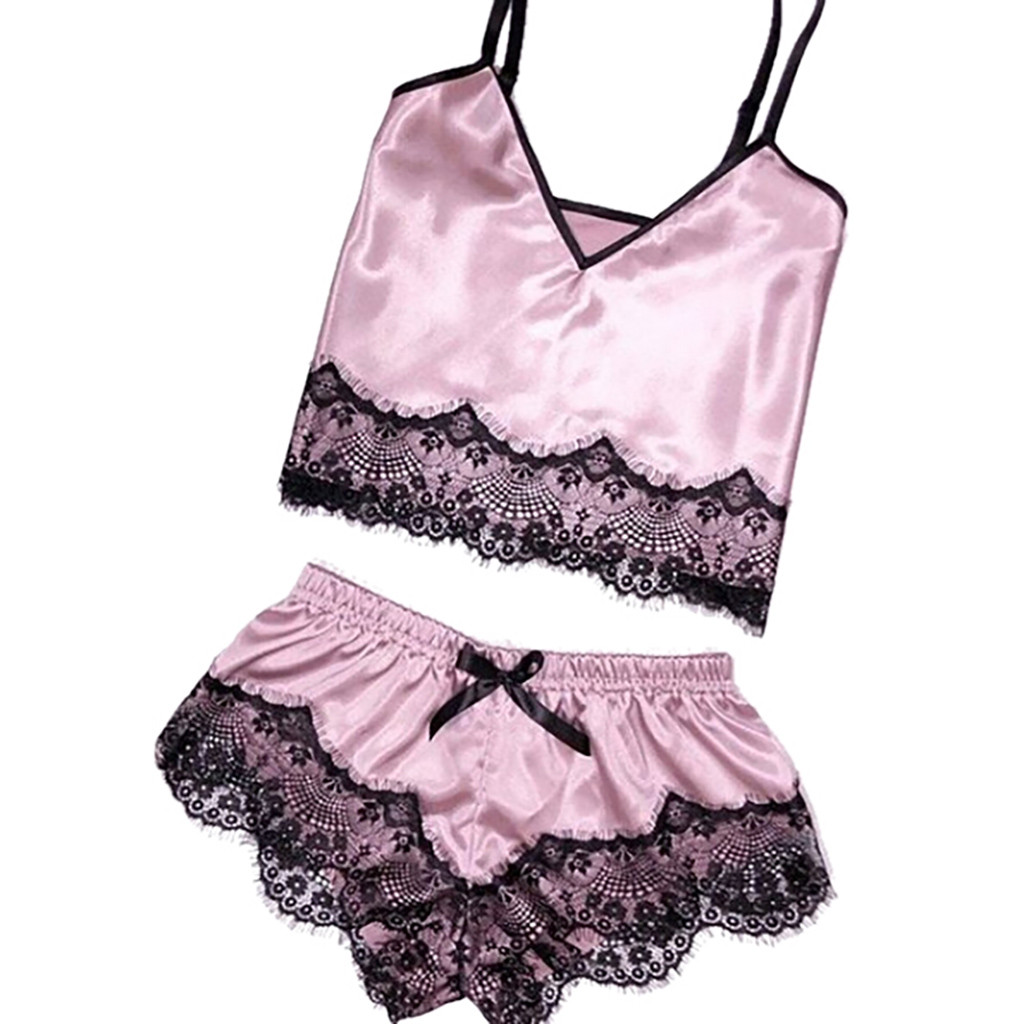 2019 NEW Womens Sexy Satin Sling Sleepwear Lingerie Lace Gift For Lovers Underwear пижма T3