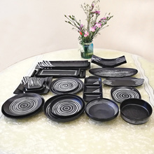 A5 Melamine Dinnerware Dinner Plate Rectangle Sashimi Dish Japanese Cuisine Sushi Restaurant Tableware Black Frosted