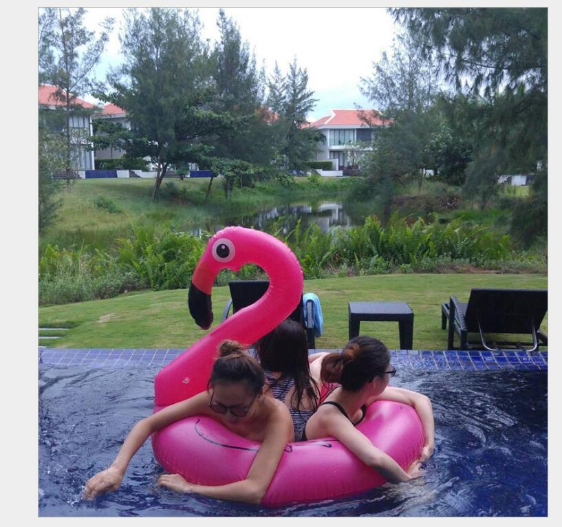 Free Inflator 120*105cm Inflatable Flamingo Giant Swan Pool Float Pink Ride-On Swimming Adults Children Water Holiday Party Toys