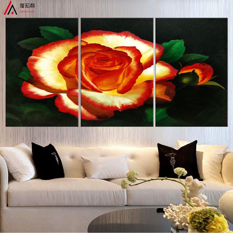 Lgemlde Rosen Fr Wohnzimmer Wand Moderne Pop Art Modulare Malerei Blumen Dekoration Druckweinlese Dekor Abstrakt