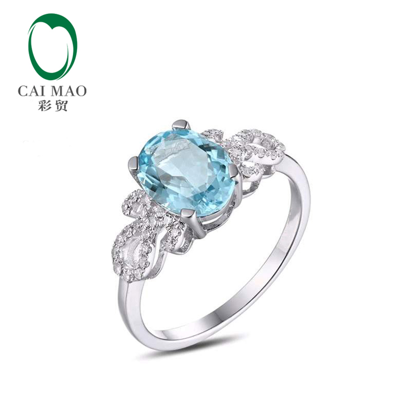 Caimao 1.66ct Natural Blue Aquamarine 14k White Gold Natural Diamond Engagement Ring Jewelry caimao 0 18ct natural round f vs diamond 14k white gold engagement wedding ring