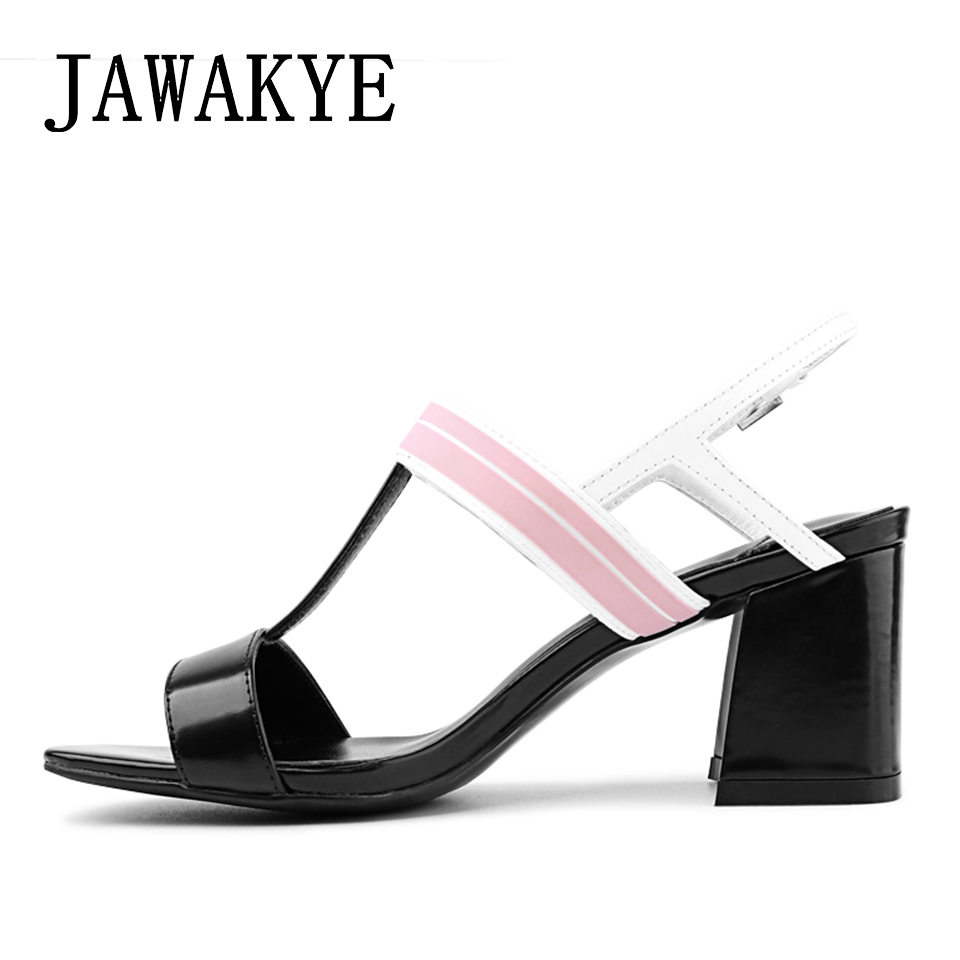 2018 New Sandals Women Patchwork Peep toe T strap Gladiator Sandals thick High Heels Ladies Slingbacks Summer leather Shoes stylish women s sandals with t strap and peep toe design
