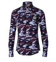 Fashion Kausal Stickerei Camouflage Männer Shirts Luxusmarke Hommes Chemises Männlich Schlank Langarm Shirts 100% Baumwolle Shirts Männer