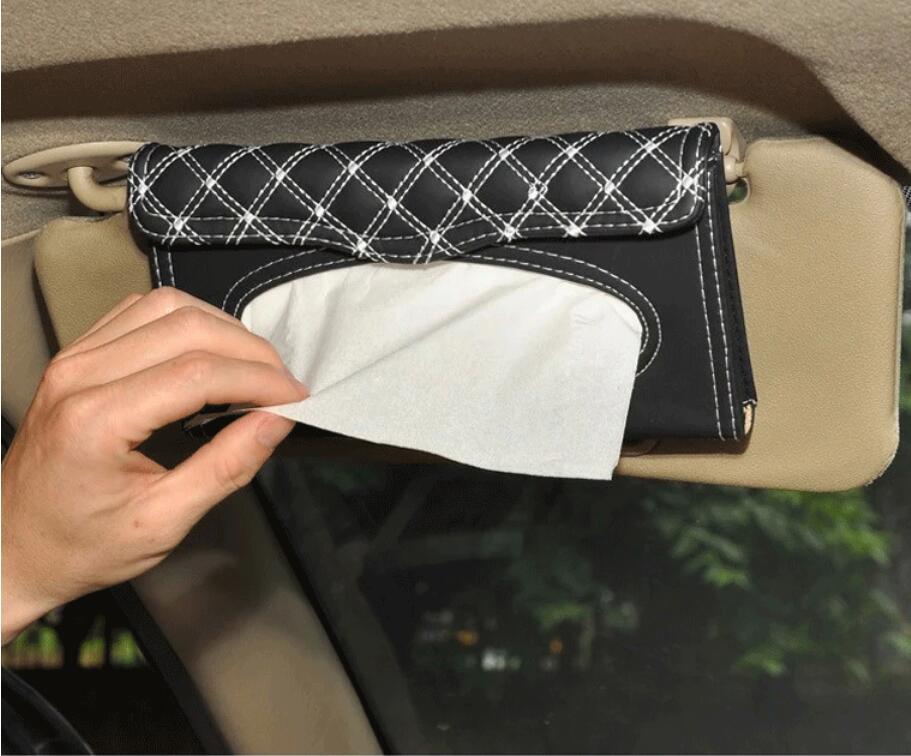 PU lather car sun visor tissue box holder black auto hanging pater towel case napkin Storage bag for car interior accessores