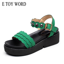 E TOY WORD 2018 New Sandals Women summer fashion Rhinestone Ladies Sandals thick bottom wedge Flat shoes Big size 41-43 timetang new 2018 summer shoes women sandals flat platform shoes sweet women s beach sandals thick sole big size 43 c187