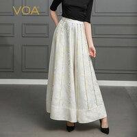 VOA тяжелый шелк жаккард Palazzo Брюки плюс Размеры 5XL свободные широкие штаны длинные брюки Для женщин Повседневное Белый Boho Высокая Талия k328