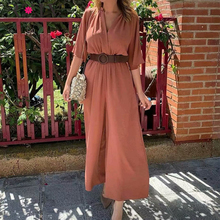 цена на RZIV Summer women's jumpsuit casual solid color V-neck short-sleeved belt decorated wide leg jumpsuit