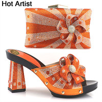 Hot Artist Nice Design Italian Shoes With Matching Bags Latest Rhinestone African Women Shoes And Bags