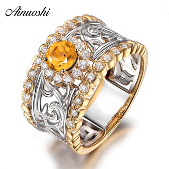 AINUOSHI Natural Citrine Ring 0.5ct Round Cut Gemstone Engagement Party Yellow Gold Halo Ring 925 Sterling Silver Vintage Ring