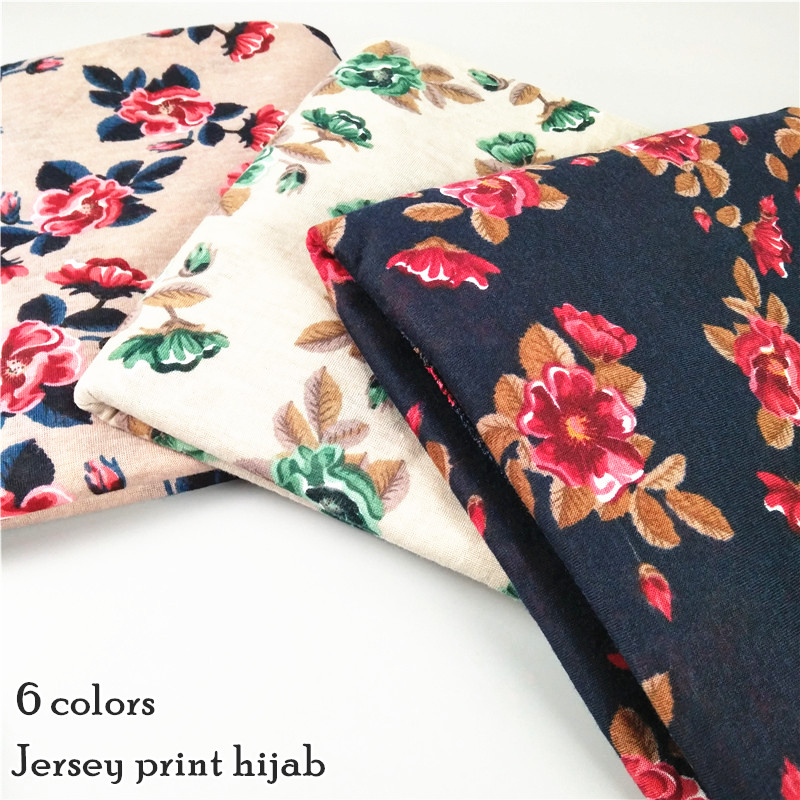 6 color jersey printed floral stretch shawls hijab long elastic muslim winter soft headband 6 color scarves/scarf 180*80cm
