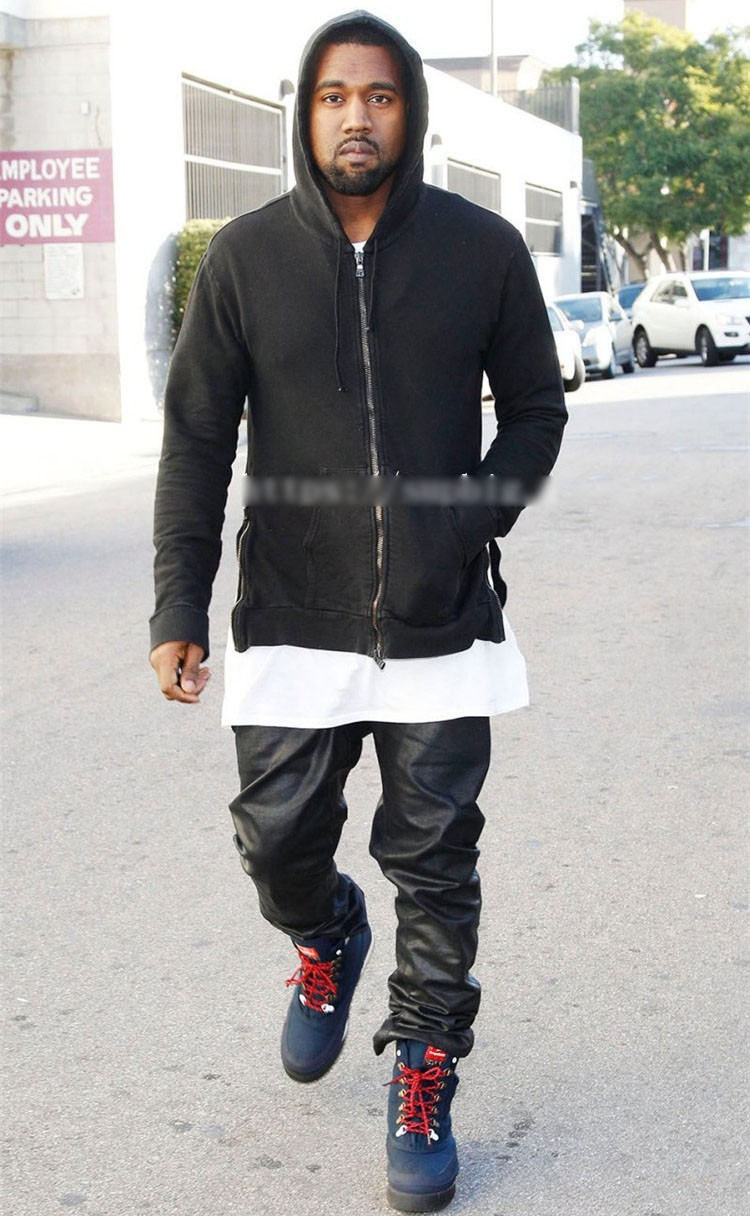 PU Leather Pants Men Elastic Waist Plus Size Side Zipper Hip Hop Leather Trousers Fashion Kanye West Justin Bieber Style Pants (14)