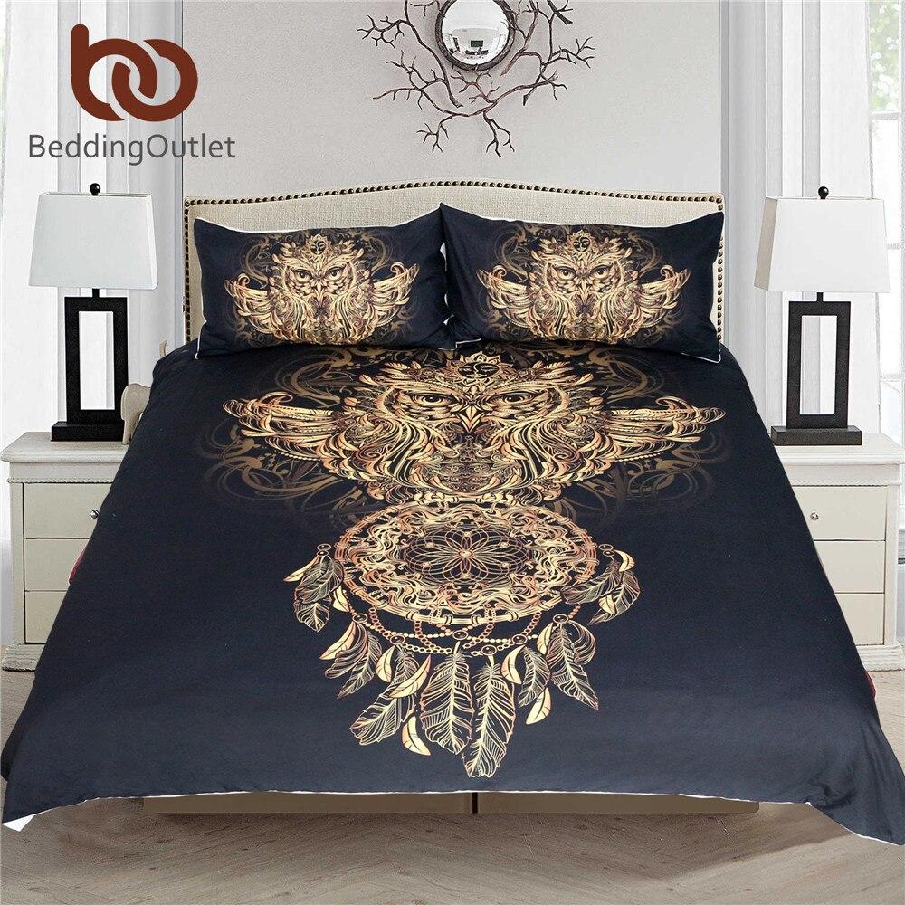 BeddingOutlet Goldene Eule Bettwäsche Set König Größe Jungen Luxus Dreamcatcher Print Schwarz 3d Duvet Tier Feder Böhmischen Bett Abdeckung