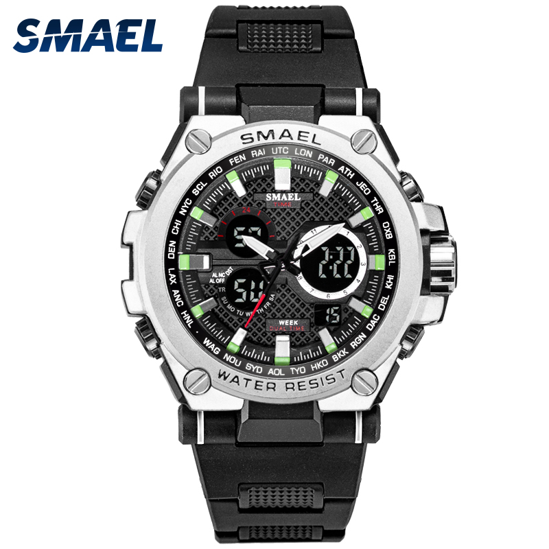 Sport Men's Watch LED 50m Waterproof Digital Multifunction Quartz Wristwatches For Male SMAEL 1709 Fashion S Shock  Stopwatch
