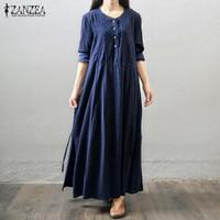 2016 Autumn Dress Hot Sale Women Maxi Long Dress Long Sleeve Embroidery Casual Loose Vintage Dress