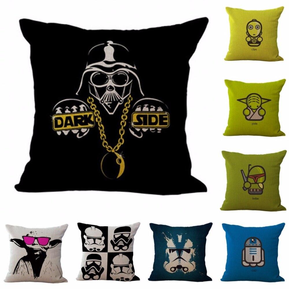 Amicable 43.5x43.5cm Classic Star Wars Series Cartoon Darth Vader Yoda Sofa Bed Car Throw Pillow Home Decor Square Linen Cushion Cover Table & Sofa Linens Cushion Cover