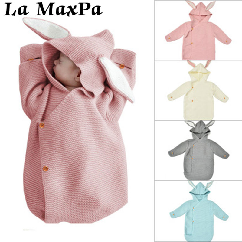 Rabbit Ear Baby Blankets Newborn Warm Baby Knitted Swaddle Wrap Blanket Photography Bunny Style Swaddle Wrap Baby Blanket Winter