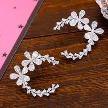 Siscathy Trendy Cubic Zircon Crystal Girls Earrings Fashion Cute Flower Stud Luxury CZ Circle Statement Ear Earring