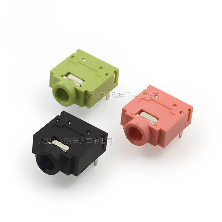 10Pcs PJ-307 PJ307 3.5mm Stereo Jack Socket Audio Jack Connector PCB 3F07 -5PIN Green / Pink / Black