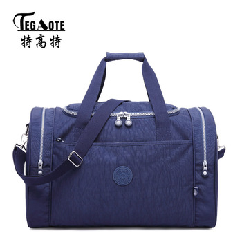 TEGAOTE Male Men Travel Bag Folding Bag Protable Molle Women Tote Waterproof Luggage Nylon Casual Travel Duffel Bag Black