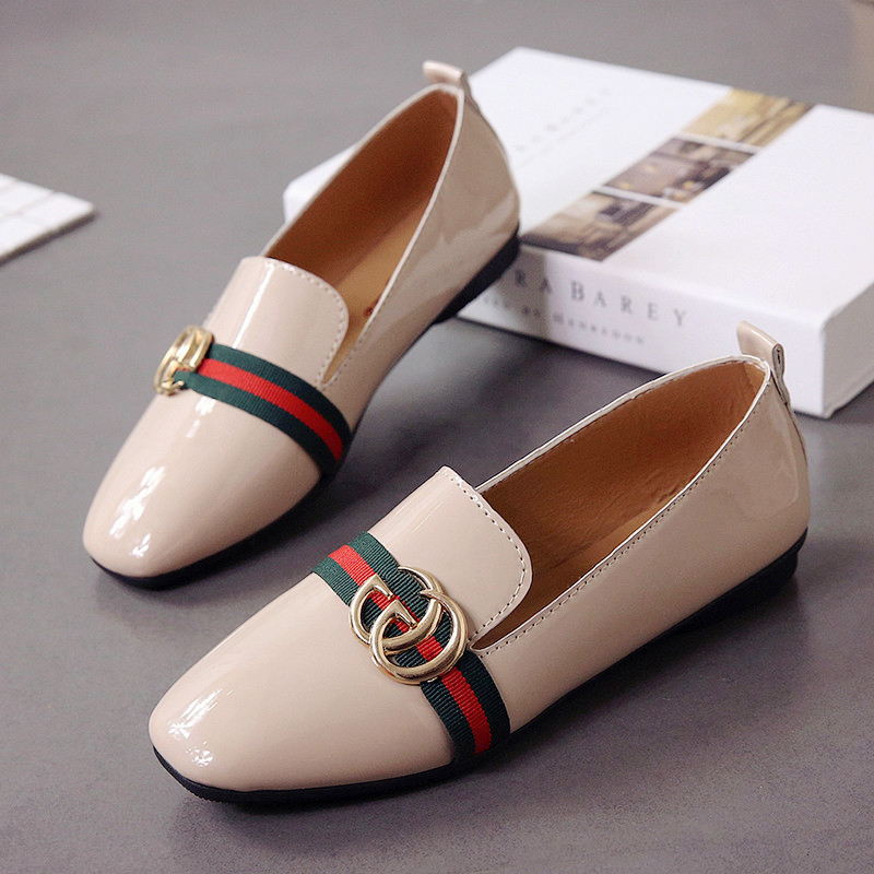 Akexiya 2019 Brand Women Ladies Shoes Flat Loafers Slip on Patent Leather Boat Shoes Woman PU Leather Casual Female Shoes Flat(China)