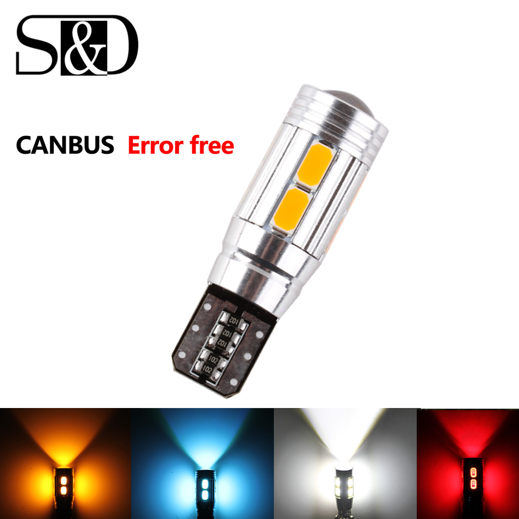 Error Free T10 W5W LED Bulbs White Yellow Red Blue CANBUS OBC LED Lamp 501 Dash Car LED Interior Auto Lamp Parking Light 12V
