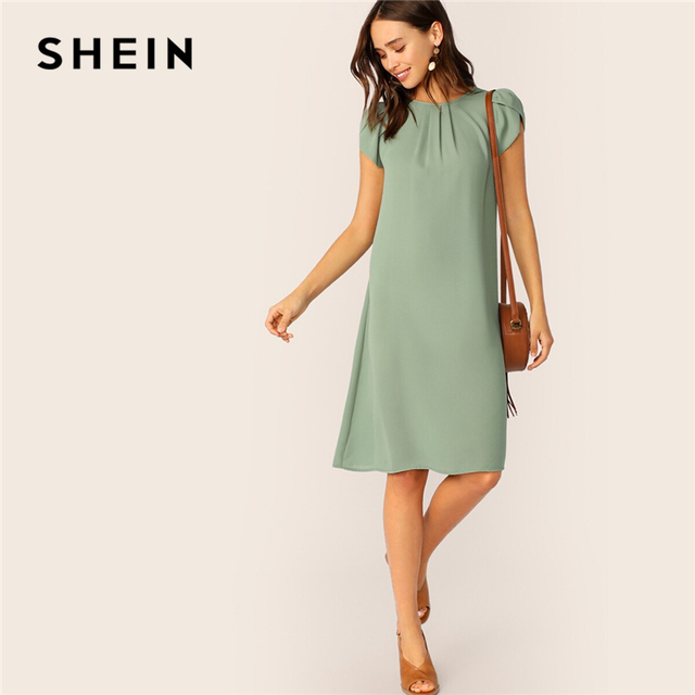 SHEIN Petal Sleeve Pleated Front Dress 2019 Green Shift Solid Cap Sleeve Round Neck Summer Straight Women Dresses