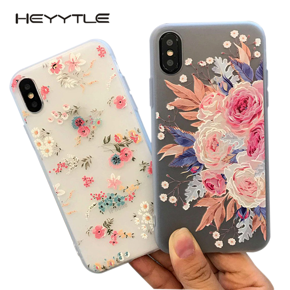 Heyytle 3D Relief Flower Phone Cover For Apple iPhone X 8 7 6S 6 Plus Case Cute Fashion Case Back Soft TPU Cover For iPhone 10