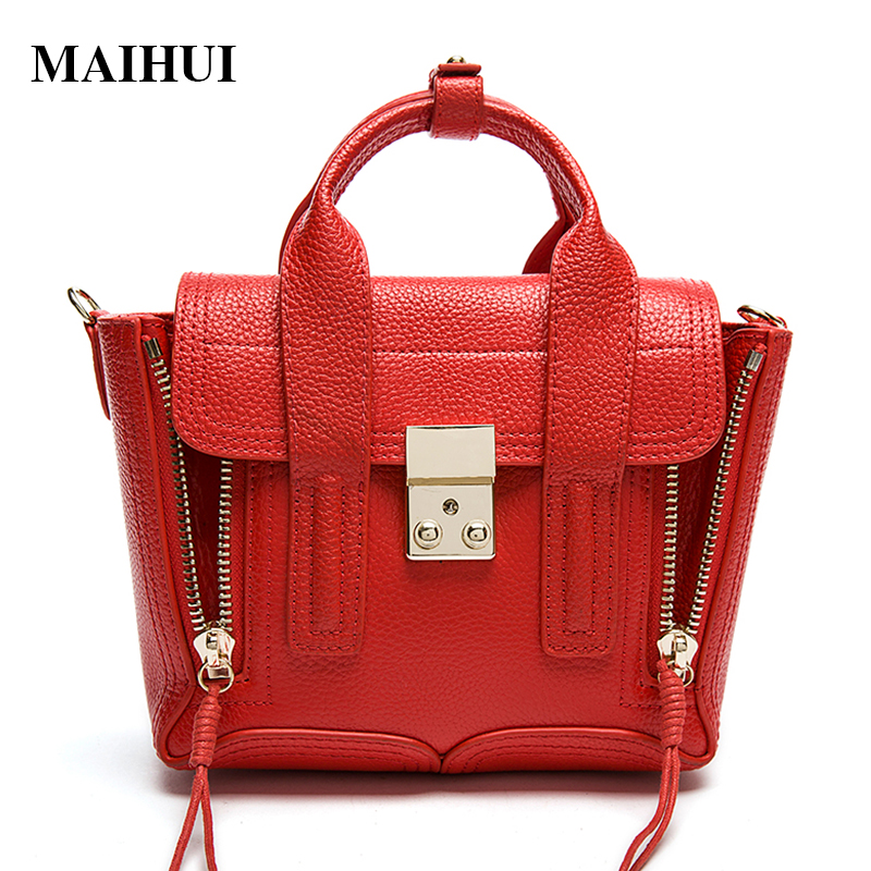 MAIHUI women leather handbags new girls trapeze bag with shoulder strap soft cowhide real genuine leather ladies Top-handle bags yuanyu 2018 new hot free shipping crocodile women handbag shoulder strap bag leather shoulder bag ladies handbags