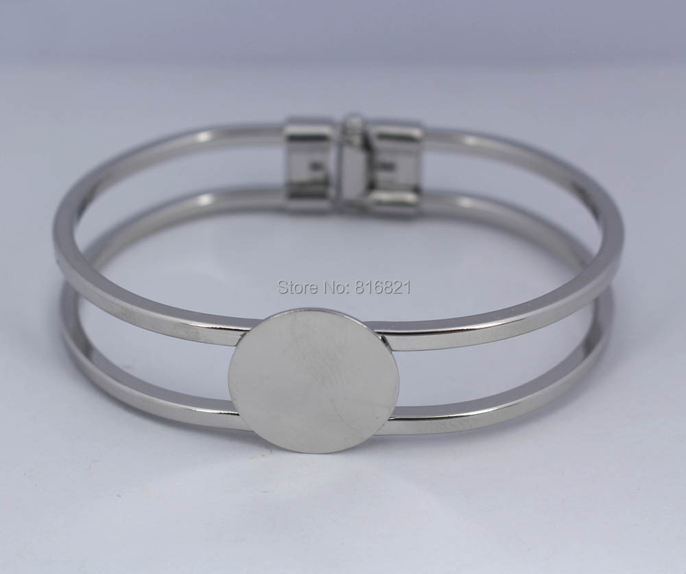 Blank Cuff Bangle Base Settings with Flat Circle Glue Pad Bezel Spring Open Bracelet Bangle Findings