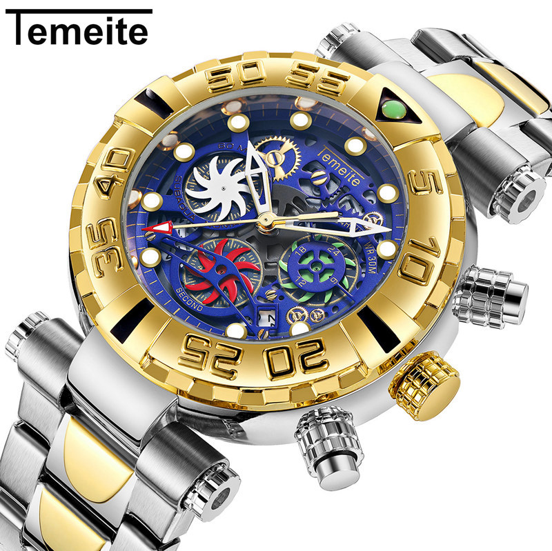 Temeite Watches Men Business Casual Golden Creative Hollow Quartz Watch Waterproof Military Wristwatches Male Chronograph ClockTemeite Watches Men Business Casual Golden Creative Hollow Quartz Watch Waterproof Military Wristwatches Male Chronograph Clock