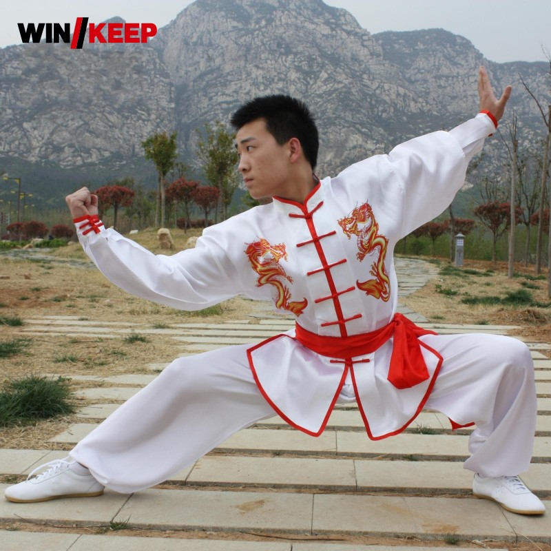 Chinese Wing Chun Kung Fu Clothes Dragon Print Embellished Martial Arts Sets Wu Shu Costume For Men Sportswear Tai Chi Roupas