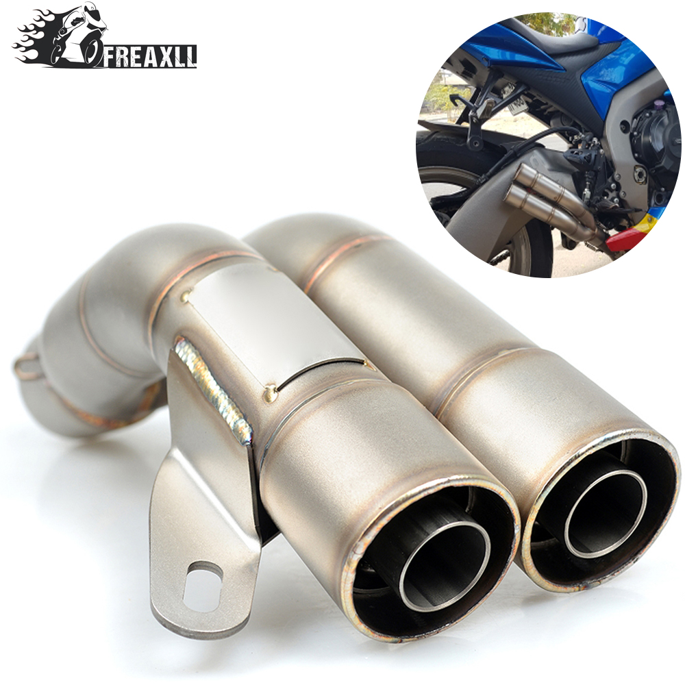 36-51MM Universal Motorcycle Double Exhaust Muffler Pipe escape moto For Suzuki GSF 600 1250 Bandit S GSX R 750 1000ABS Kawasaki 36 51mm motorcycle universal exhaust pipe muffler for suzuki sv650 gsf katana hayabusa honda shadow 600 750 1100 cbr 125r