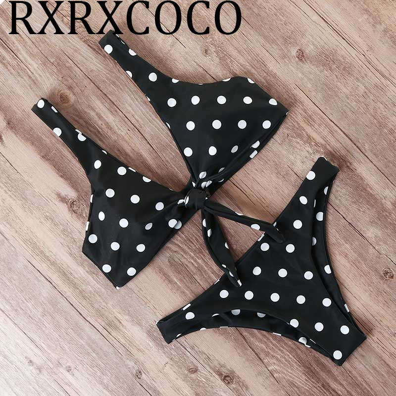 Polka-dot Bikini 2019 Push Up Swimsuit Chest Knot Bathing Suit Female Micro Biquini Swimwear Women Bandage Swim Suit Beach Wear