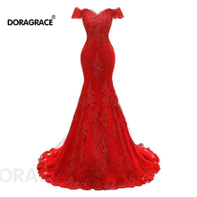 Doragrace Elegant Applique Beaded  Off the Shoulder Red Mermaid Evening Dresses
