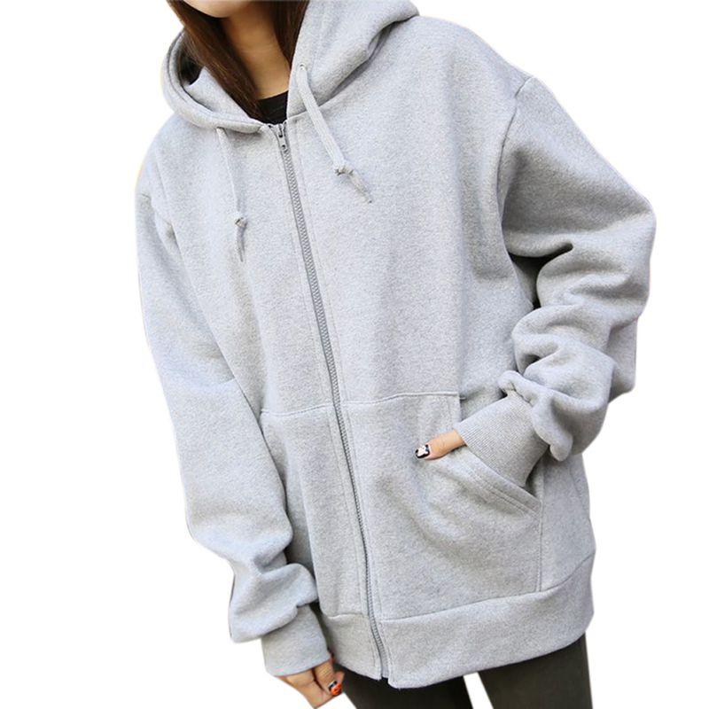 Winter Fashion Womens Hoodies Sweatshirt Zipper Long Sleeves 2019 Zipper Pockets Women Hoodies Sweatshirts